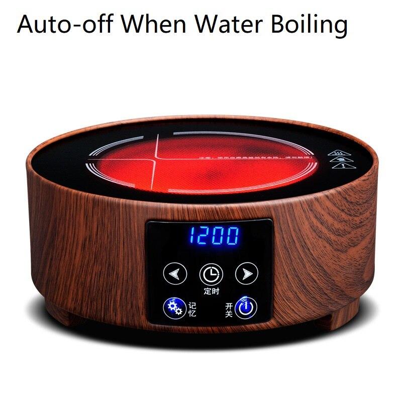 AC220 240V 50 60 hz mini elektrische keramische kookplaat kokend thee verwarming koffie 1200 w power 6 bestanden kan timing 3 uur