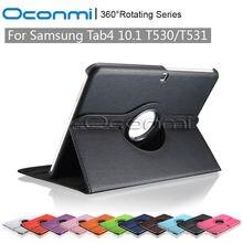 360 giran la caja de cuero para samsung galaxy tab 4 10.1 sm-t530 sm-t531 con la función del soporte caso de la cubierta protectora