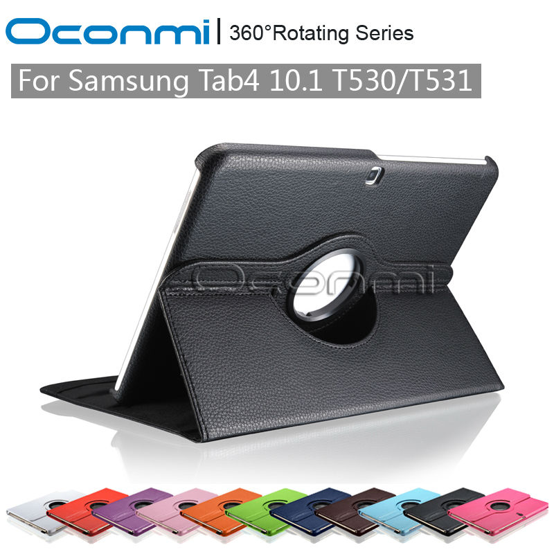 360 rotating leather case for Samsung Galaxy Tab 4 10.1 SM-T530 SM-T531 with stand function protective cover case ...