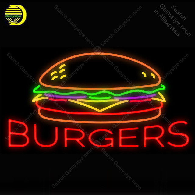 Burgers NEON LIGHT SIGN Neon Sign food Decorate Hotel Advertise GLASS Tube BEER PUB Store Display Handcraft Iconic Sign lights