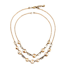 Casual Two Chains Geometric Crystal Necklace Shijie Designer Antique Glass Made New Necklaces Unique Accessories