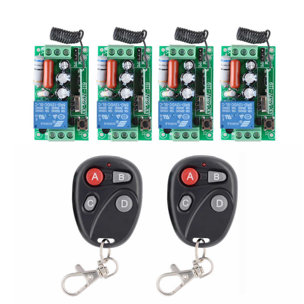 AC 220 V 1CH 10A Relay RF Wireless Remote Control Switch Wireless Light Switch ; 4PCS Receiver + 2PCS Transmitter 24v 1ch rf wireless remote switch wireless light lamp led switch receiver