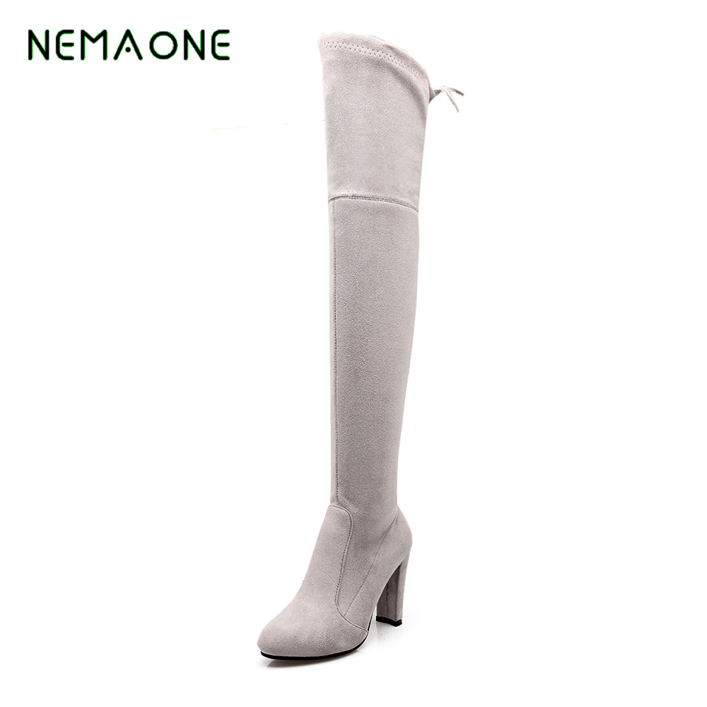 NEMAONE 2017 Faux Suede Slim Boots Sexy over the knee high women snow boots women's fashion winter thigh high boots shoes faux suede slim boots sexy over the knee high women snow boots women s fashion winter thigh high thick heels boots shoes woman