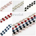 """8mm Handmade Glass Pearl Beaded Chains for Necklaces/Bracelets Making, with Iron Eyepins, 39.3""""; about 77pcs/strand"""
