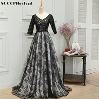 SOCCI Long Gown With Black Lace Mom Muslim Evening Dress V Neck Floor Length Flowers Tulle