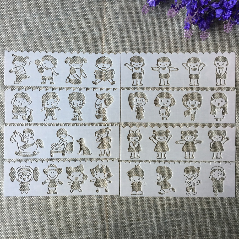 8Pcs New 18.5*5.5cm Little Children Kids DIY Layering Stencils Painting Scrapbook Coloring Embossing Album Decorative Template