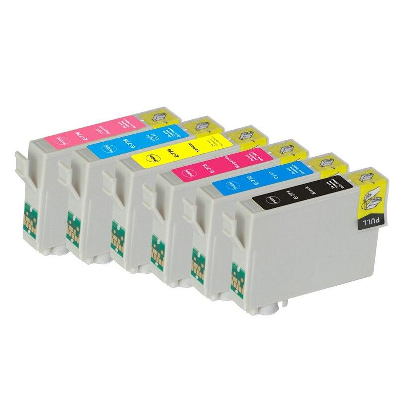 18PK(3BK+3C+3M+3Y+3LC+3LM) Ink <font><b>Cartridge</b></font> T0771-T0776 For Epson Stylus <font><b>Photo</b></font> R260 R280 R380 RX580 RX595 RX680 <font><b>inkjet</b></font> <font><b>cartridge</b></font>