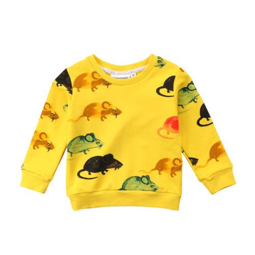 Cute Baby Girls Boys T-shirt Tops Long Sleeve Sweatshirt Casual Cartoon Print Pullover