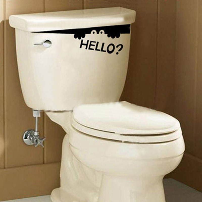 6pcs Hot Item Cute Bathroom Home Wardrobe Toilet Decals Wall Art Hello Monster Vinyl Sticker Wholesale