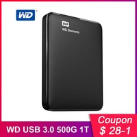 Western Digital WD Elements Hard Drive External Hard Drive 500G 1TB 2TB USB 3.0 Hard Disk Hdd 2.5 Inch Portable Hard Drive