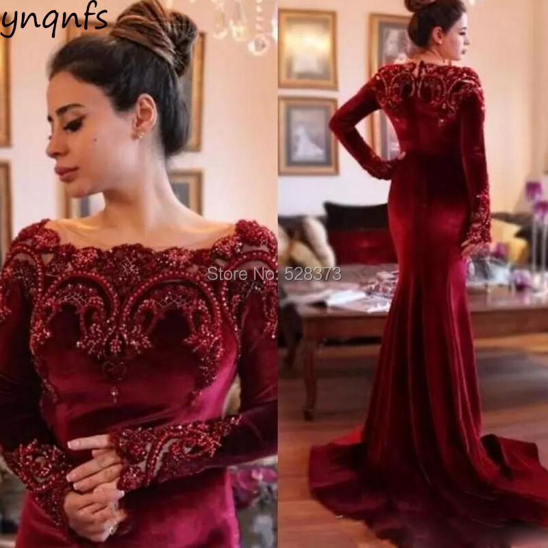 d3b288296c92 YNQNFS MD156 Real Ceremony Anniversary Evening Party Dress Mermaid Long  Sleeve Mother of the Bride
