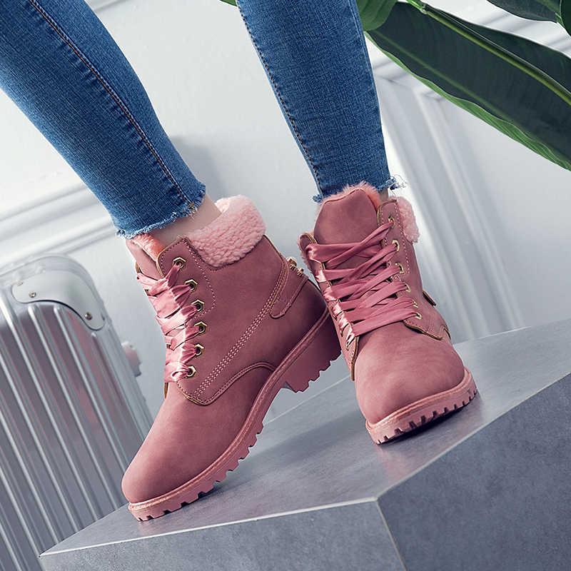 b2930f29 ... 2019 Mujer europea caliente tobillo Botas piel invierno zapatos Mujer  nieve tobillo Botas señoras Rosa Botas