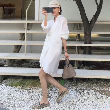 women Shirt Dress Summer Casual Collar Buttons Loose Robe Femme Vestid
