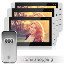 FREE SHIPPING Home Wired 7″ Color TFT Video Doorphone Intercom System + 3 Touch White Monitor + Waterproof Door Camera IN STOCK