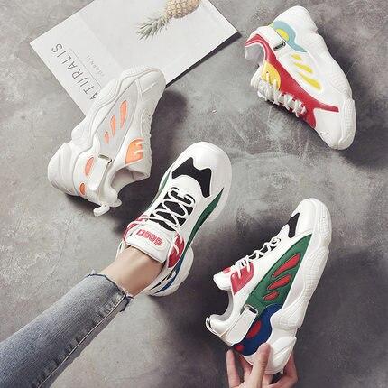 Rouge Harajuku Coréenne Étudiants Flamme vert De Respirant rouge 2018 Nouvelle Version Femme Gris Simples Net Chaussures Sauvage nBWxPqR