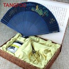 Creative gift handicraft hangzhou three travel souvenirs Scissors Folding Fan silk scarves combine of weeding birthday lady gift