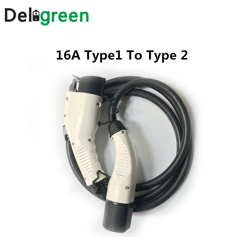 DUOSIDA 16A Type1 to Type 2 IEC62196 J1772 EV Charging plug with 1M TUV/UL cables single phase three phase