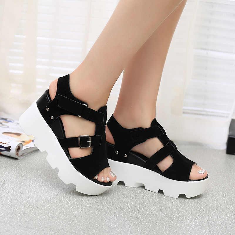bf8cd65c4 Summer Women Peep Toe Gladiator Flat Sandals Female Hook Loop Buckle Rivets  Design Platform Wedge Shoes