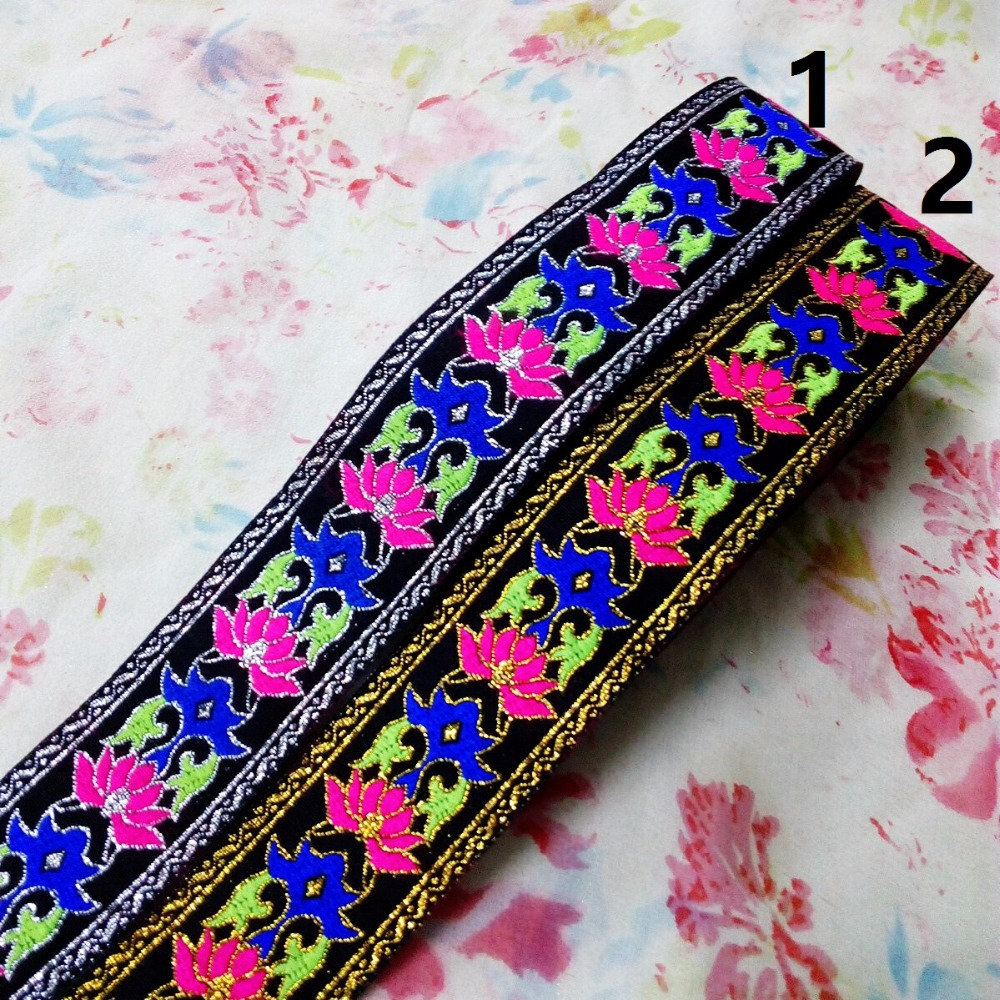 4cm 40mm 1-5/8' Blue Green Pink Lotus Filigree Silver Gold Laciness Costume National Jacquard Ribbon Woven Embroidery Webbing