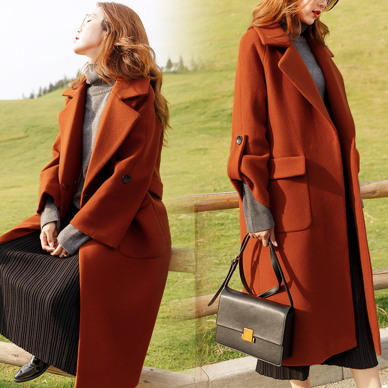 2018 New Autumn And Winter Woolen Coat Women Large Size Loose Thin Long Section Over The Knee Leisure