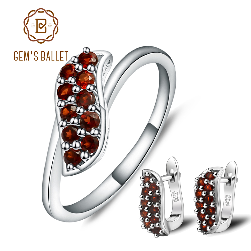 GEM S BALLET S shape Natural Garnet Rings Clip Earrings Gemstone 925 Sterling Silver Pomegranate Fine