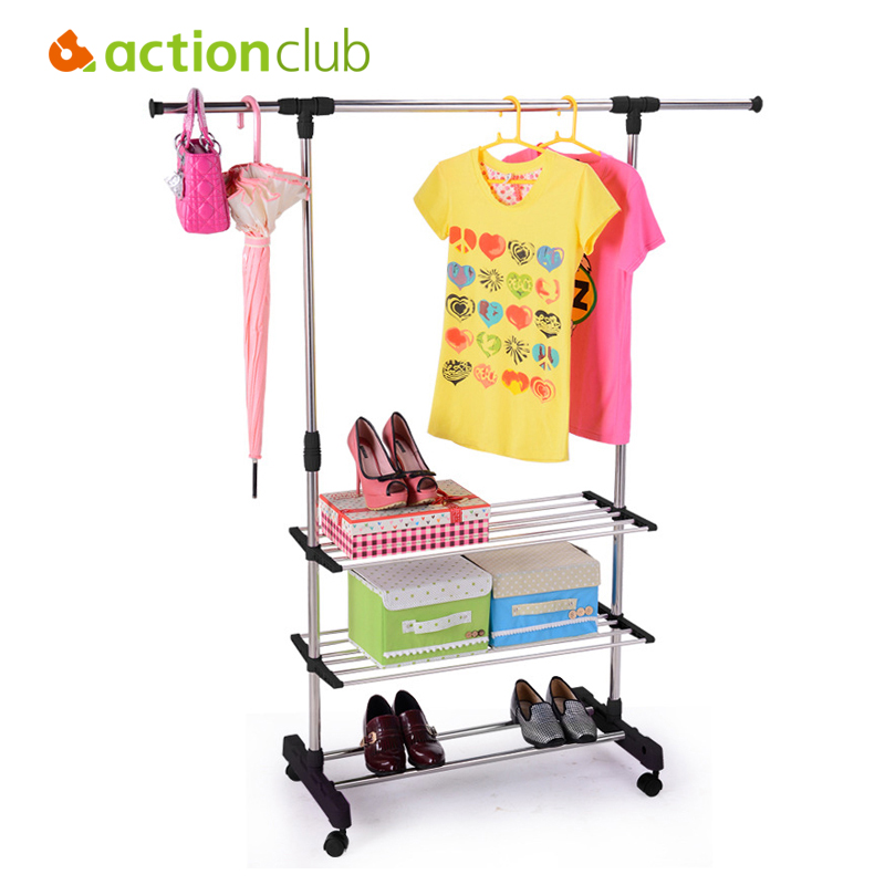Actionclub Multifunction Stainless Steel Single Rod Drying Rack With Storage Rack Towel Rack Indoor Balcony Folding Drying Rack swat vdr hy 21
