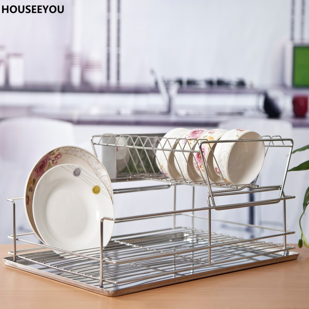 Dish Drying Rack Kitchenware Bowl Tray Kitchen Storage Support Frames Drainer Dish Shelf Tier Plates Holder Stand Home Storage
