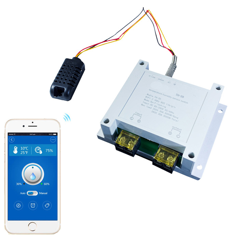 WiFi Control 30A Big Current Smart Switch Temperature Humidity Measurement Monitor Controller Home Automation