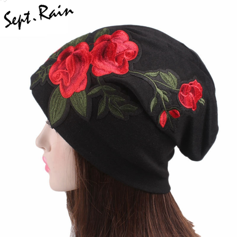 Large Caps Big Size Rose Flower Embroidery Slouch Beanie Jersey Skull Hat Women Lady Floral Hats Confinement ...