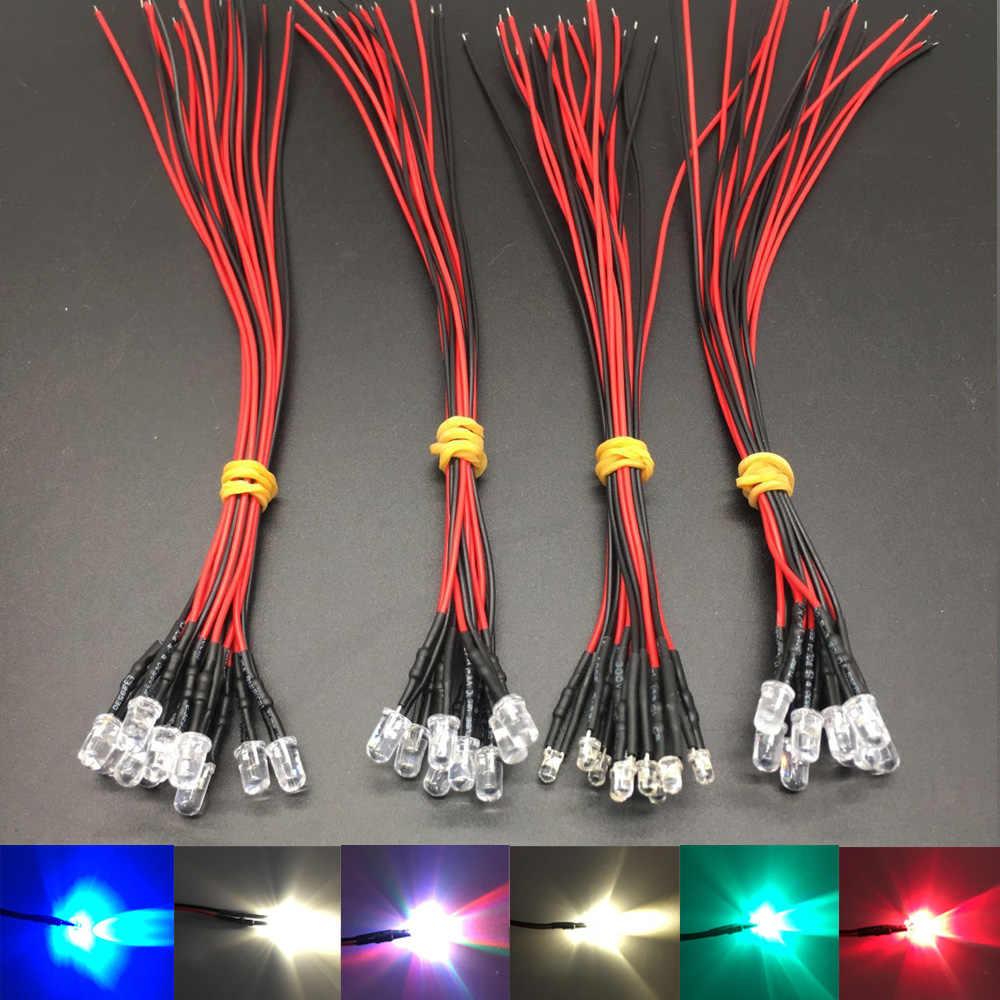 20 stks lot 20 cm Pre Wired 3mm 5mm LED Licht Lamp Voorbekabeld Emitting Diodes Voor DIY home Decoratie DC12V