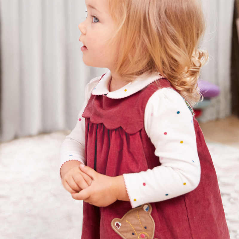 Little maven kids brand autumn new children's red dress baby girls clothes Cotton bear applique girl sleeveless dresses Q0058