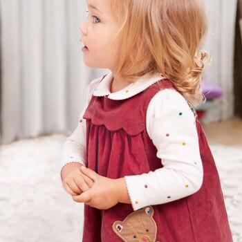 Little maven kids merk herfst nieuwe kinderen rode jurk baby meisjes kleding Katoen beer applique meisje mouwloze jurken Q0058