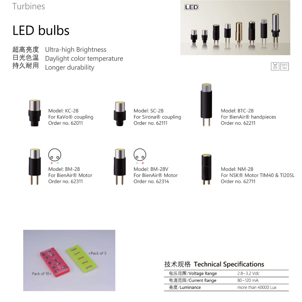 New 5pcs KAVO SIRONA BEINAIR fiber optic handpiece led bulb Beinair motor NSK electical motor replace LED bulb