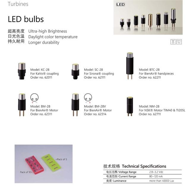 Nova 5 pcs KAVO BEINAIR SIRONA handpiece fibra óptica lâmpada led Beinair NSK motor motor electical substituir lâmpada LED