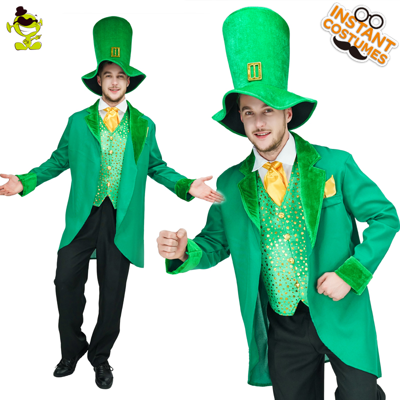 Men s Leprechaun Costume With Coat Vest Shirt Hat Pants Adult Funny Green Man Costumes For