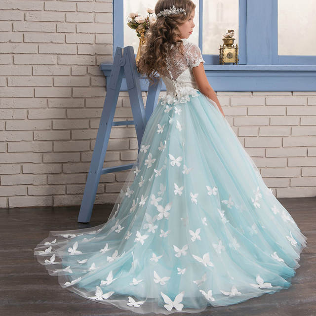 ebb3993fc6 Online Shop Abaowedding Blue Butterfly Girls Dresses with Sleeves Ball Gown  Kids First Communion Dress Long Flower Girls Pageant Dress