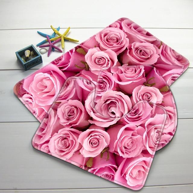 3 pz Bagno Mat Set Rosa Roses Motivo Bath Mat Anti Slip Doccia Tappeto e Tappetino Wc Bagno Prodotti