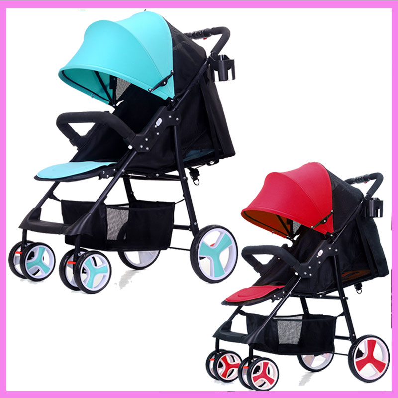 Portable Baby Cart Travel System Baby Stroller Portable Umbrella Ultra Light Stroller Carriage Reclining Baby Lying Stroller mige stroller baby trolley cart folding baby carriage baby cart can be lying on the baby cart portable cart pram with 3 gift