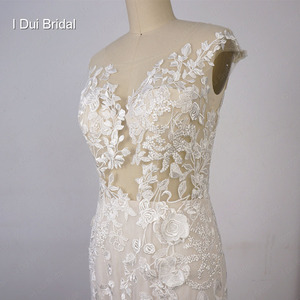 Image 2 - Illusion Top Lace Wedding Dress Mermaid Low Back Sexy Bridal Gown