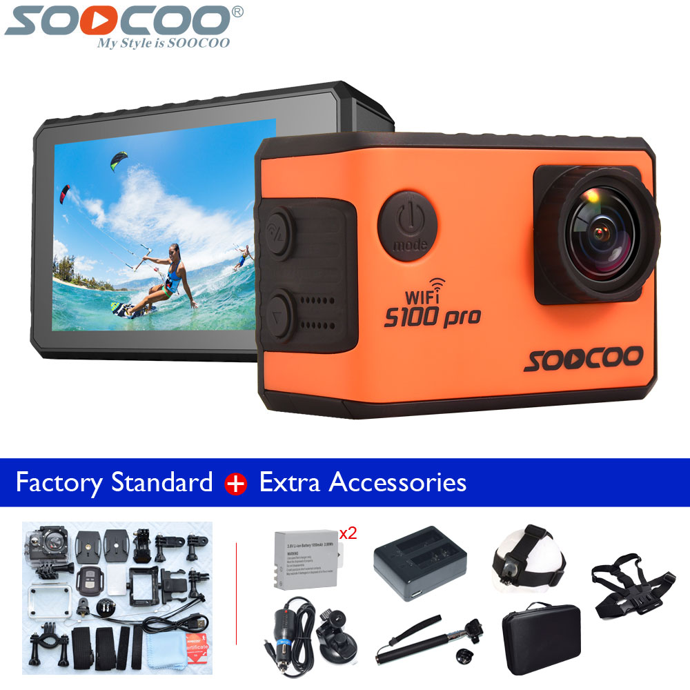 Original SOOCOO S100 Pro Action Camera Voice Control 2 Inch Touch Screen Full HD Waterproof S100Pro 4K Wifi Sport DV Support GPS soocoo c50 4k hd wifi sport action camera 2 inch lcd screen 12mp camcorder with waterproof case 170 degrees wide angle lens