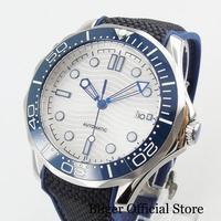 Bliger super luminoso relógio automático masculino com janela data safira vidro 41mm relógio de tempo