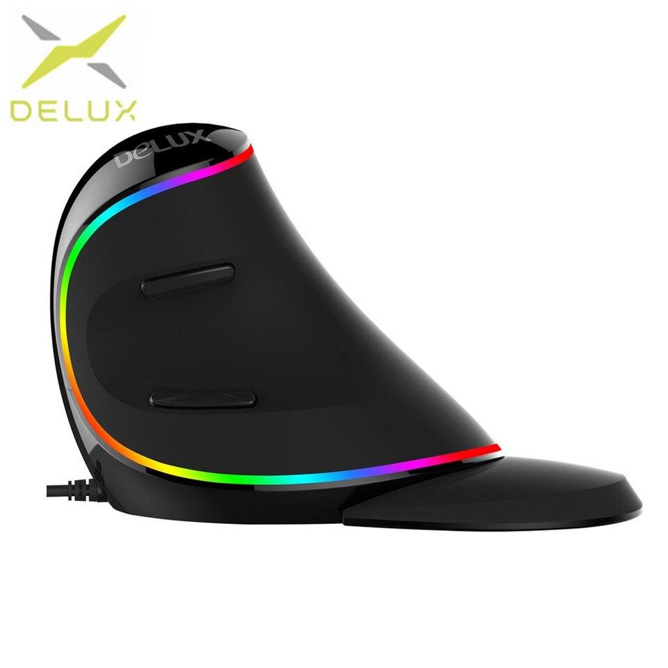 Delux M618 PLUS souris optique professionnelle USB RGB souris optique verticale souris réglable 1600 DPI souris pour PC ordinateur portable