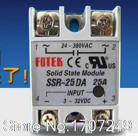 Free Shipping!! Promotion New Solid State Relay 25A SSR input 3-32V DC output 24-380V AC Single Phase for Temperature Controller dc ac single phase ssr solid state relay 120a 3 32v dc 24 480v ac