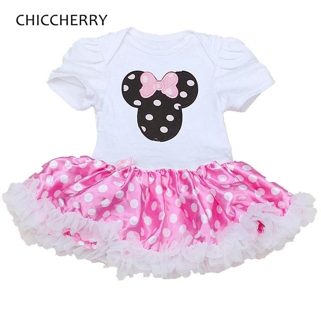 60b61111d590 Minnie Newborn Baby Girl Clothes Polka Dots Lace Tutu Cotton Birthday Infant  Romper Dress Vestido Menina
