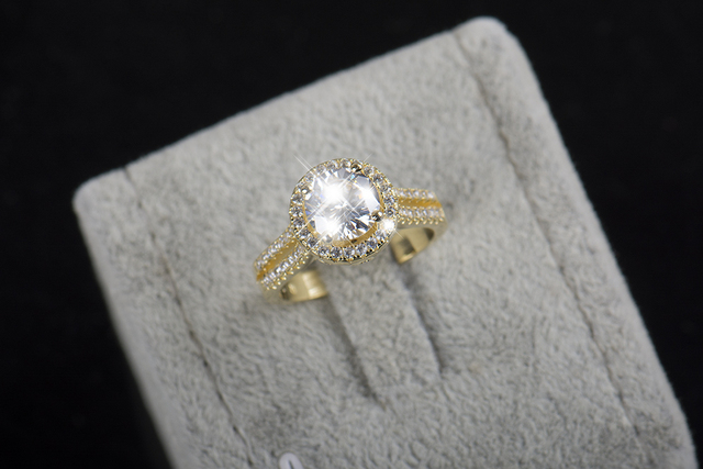 Sterling silver ring Gold Color Classic engagement