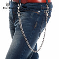 3D Soild Alloy Cheetah Head Cross Jonit Cuban LInk Silver Wallet Key Chain Punk Casual Long Key Chain J64