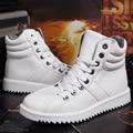 Модный бренд теплые зимние мужские сапоги высокие топ черный белый повседневная обувь