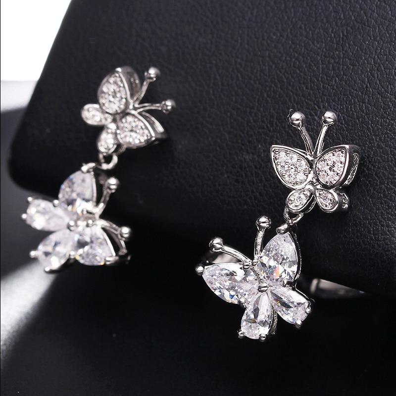 Silver Color butterfly CZ stone Stud Earrings for Girls Clear Cubic Zirconia Women's Earrings Fashion Jewelry Dropshipping