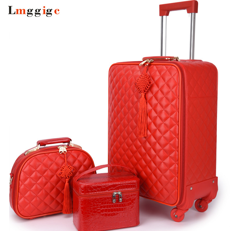 Women 's Travel Rolling Luggage Suitcase bag set,Red Waterproof PU leather Bag with Wheel ,2024 inch New Trolley case kundui new 22 24 inch vintage travel trolley luggage suitcase pu red marriage with tsa lock rolling bride makeup bag with wheels