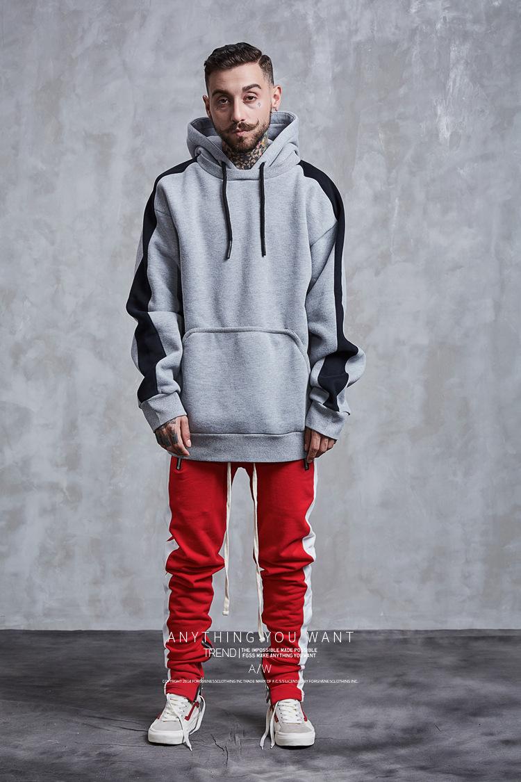 Aolamegs Hoodies Men Side Striped Hood High Street Pullover Cotton Fashion Hip Hop Streetwear Casual Big Pocket Hoodie Autumn (22)
